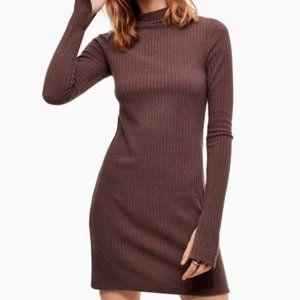 Aritizia Wilfred Free Brown Long Sleeve Dress